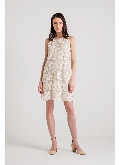 Xtsy Kolsuz Çiçekli Mini Elbise Beyaz